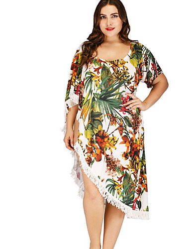 3e17a640ec Women s Plus Size Off Shoulder White Cheeky Cover-Up Swimwear - Floral One-Size  White   Sexy