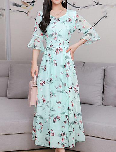 acbeaa994c1e Boho Sleeve Maxi Sheath Chiffon Swing Dress Floral Bow Patchwork Print  Sweetheart Neckline Summer Pink Light Dresses