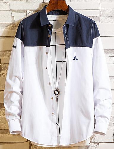Homens Camisa Social Básico Geométrica / Estampa Colorida