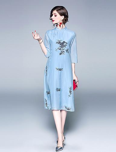 Per donna Feste Vintage Stoffe orientali Seta Cotone Swing Vestito - Con  ricami f18f2f72996