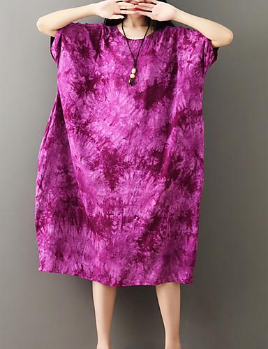 8ff1b3e787cf Women s Daily Loose Swing Dress Cotton Purple Light Blue Royal Blue One-Size