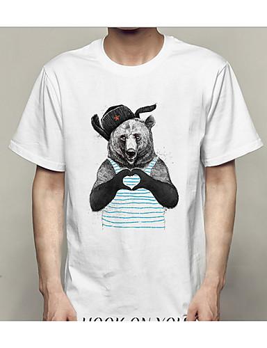 お買い得  3/15-男性用 Tシャツ ラウンドネック スリム 幾何学模様 / 半袖