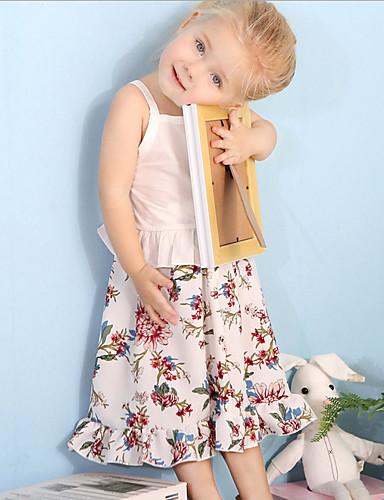 Μωρό Κοριτσίστικα Καθημερινό Καθημερινά Φλοράλ Στάμπα Αμάνικο Κανονικό Πολυεστέρας / Δέρμα μοσχαριού Σετ Ρούχων Λευκό