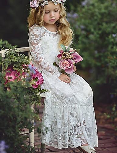 Μωρό Κοριτσίστικα Βασικό Μονόχρωμο Μακρυμάνικο Βαμβάκι Φόρεμα Λευκό