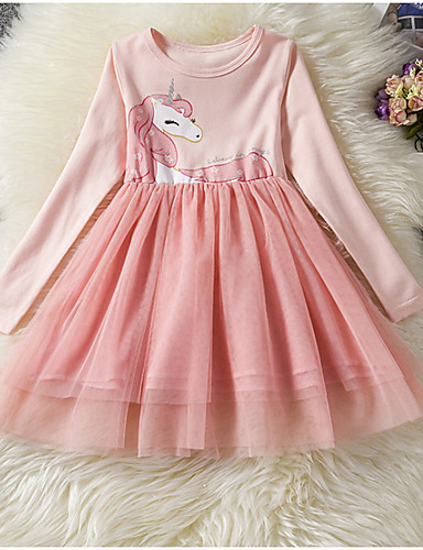 billige Unicorn Dresses-Barn Jente Grunnleggende Dusty Rose Unicorn Ensfarget Langermet Kjole Rosa