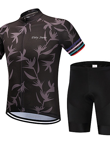 cheap Cycling Clothing-FirtySnow Men's Short Sleeve Cycling Jersey with Shorts - Brown Leaf Bike Clothing Suit Breathable Quick Dry Sports Polyester Leaf Mountain Bike MTB Road Bike Cycling Clothing Apparel / Stretchy