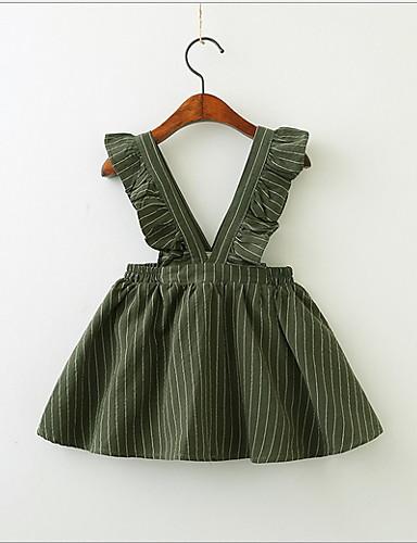 幼児 女の子 甘い / かわいいスタイル ストライプ ノースリーブ ドレス グリーン