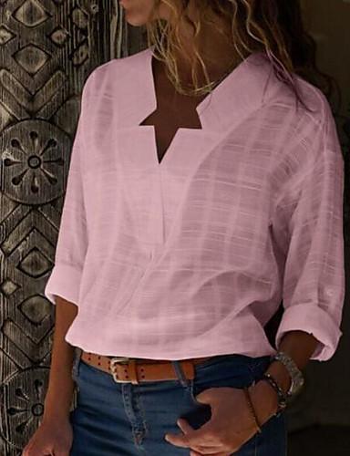 povoljno Ženske majice-Veći konfekcijski brojevi Majica Žene - Ulični šik Dnevno Pamuk Jednobojni V izrez Crn