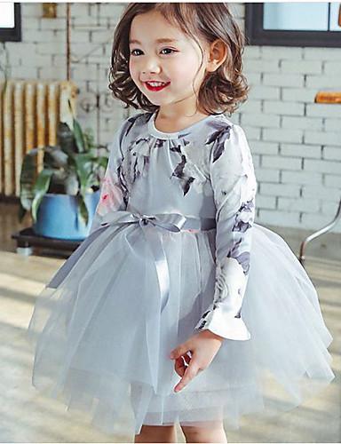 Παιδιά Κοριτσίστικα Βασικό Μονόχρωμο Μακρυμάνικο Φόρεμα Θαλασσί