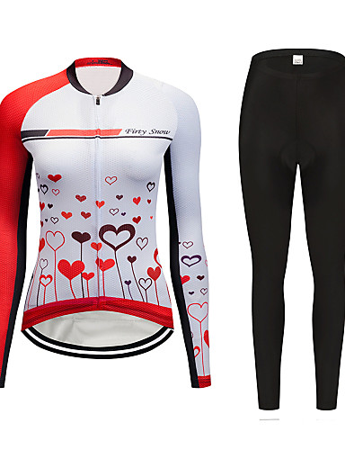 cheap Cycling Clothing-FirtySnow Women's Long Sleeve Cycling Jersey with Tights Red and White Cartoon Bike Clothing Suit Thermal / Warm Windproof Fleece Lining Winter Sports Polyester Cartoon Mountain Bike MTB Road Bike