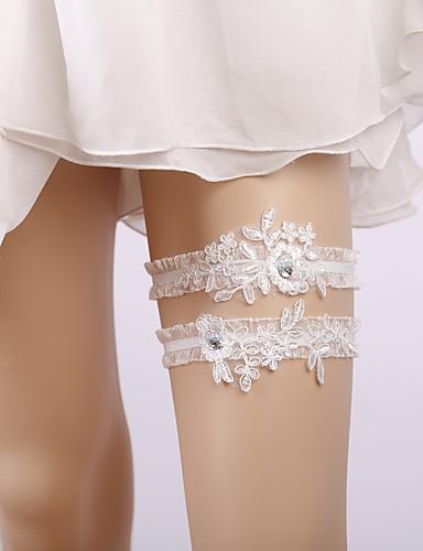 Csipke Menyasszonyi Wedding Garter Val vel Rátétek   Fodros   Kristályok    Strasszok Harisnykötők Esküvő   Parti 0f58cafb4c