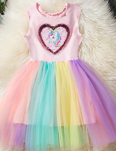 billige Unicorn Dresses-Barn Jente Grunnleggende Unicorn Regnbue Lapper Ermeløs Kjole Rosa