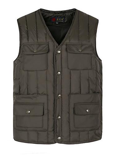 voordelige Heren donsjassen & parka's-Heren Dagelijks Standaard Effen Normaal Vest, Polyester Mouwloos Winter V-hals blauw / Grijs XXXL / XXXXL / XXXXXL