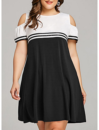 cheap Women's Plus Size Dresses-Fashion Stripe Dresses Women's Basic Sheath Dress - Color Block Black Navy Blue Purple XXXL XXXXL XXXXXL