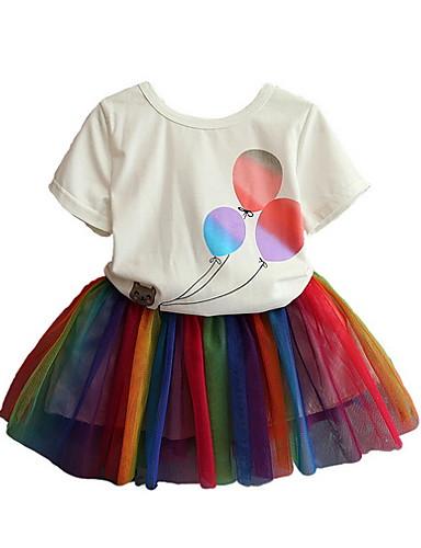 c6ad97d0c Kids Girls' Street chic Cartoon Short Sleeve Regular Polyester Clothing Set  Rainbow