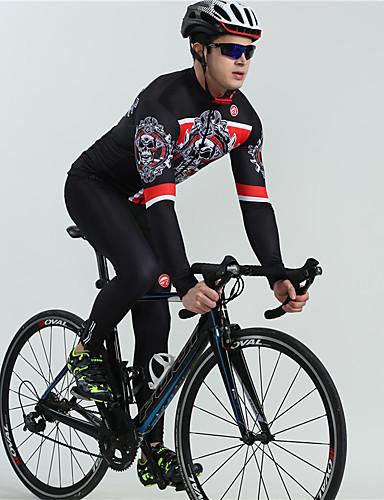 cheap Cycling Clothing-BOESTALK Men's Long Sleeve Cycling Jersey with Bib Tights - White Black Skull Bone Bike Bib Tights Breathable Back Pocket Winter Sports Fleece Classic Mountain Bike MTB Road Bike Cycling Clothing