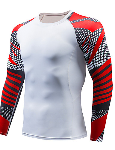 cheap Cycling Clothing-Men's Compression Shirt Long Sleeve Compression Base layer T Shirt Top Plus Size Lightweight Breathable Quick Dry Soft Sweat-wicking Red and White Black / Red Black / Yellow Winter Road Bike Mountain