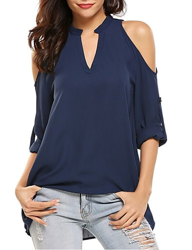 abordables Camisas y Camisetas para Mujer-Mujer Camisa Un Color Gris XXXXXL