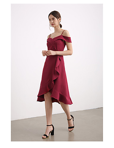 2670dcbf560 A-Line Straps Knee Length Chiffon Bridesmaid Dress with Split Front    Cascading Ruffles by LAN TING Express