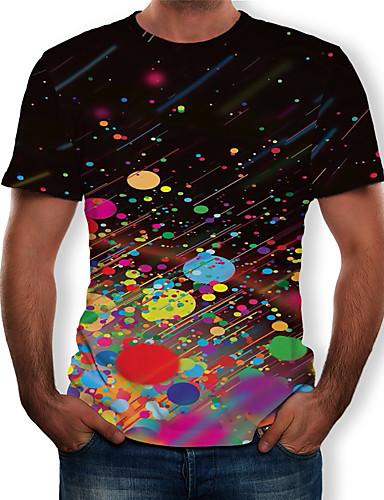 voordelige Herenbovenkleding-Heren Print T-shirt Heelal / 3D / Grafisch Zwart