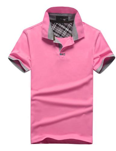 voordelige Herenpolo's-Heren Polo Effen Overhemdkraag Blozend Roze
