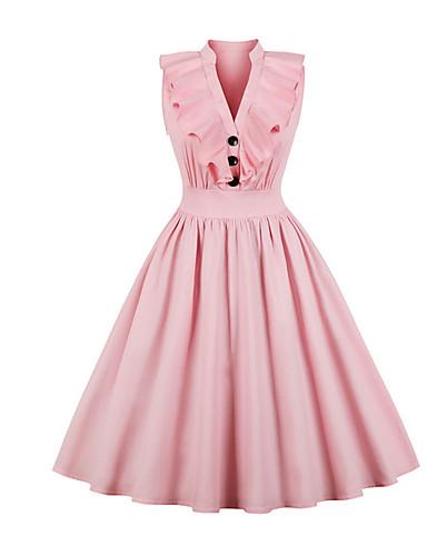 economico Vestiti da donna-Per donna Vintage Swing Vestito - Con balze A V  Medio   cfb8e4f68a8