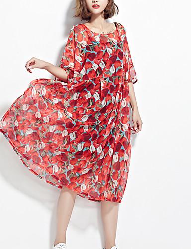 Women's Boho Swing Dress - Geometric Red One-Size