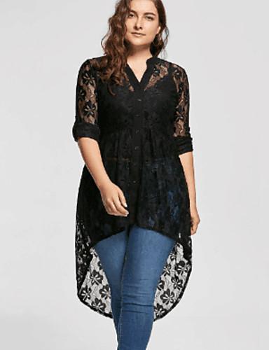 cheap Women's Plus Size Dresses-Women's A Line Dress - Solid Colored Lace Black XXXL XXXXL XXXXXL