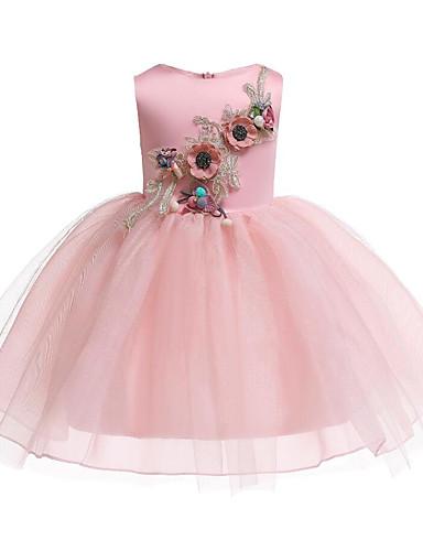 子供 / 幼児 女の子 活発的 / 甘い フラワー リボン / メッシュ / 刺繍 ノースリーブ コットン / ポリエステル ドレス ピンク