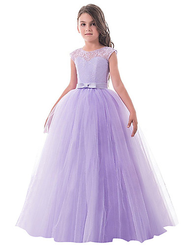 a65e2a3b6ca Princess Long Length Flower Girl Dress - Lace   Tulle Sleeveless Jewel Neck  with Bow(s)   Lace by LAN TING Express