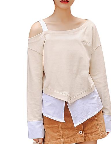 Mulheres Camiseta Sólido Assimétrico Delgado Branco Tamanho Único