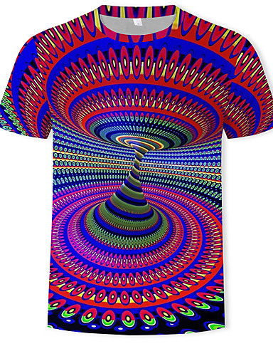 voordelige Heren T-shirts & tanktops-Heren Standaard / overdreven Print T-shirt Kleurenblok / 3D Ronde hals Regenboog / Korte mouw