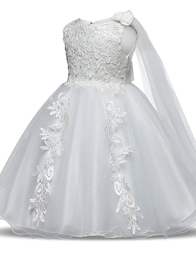 d0998681d8f53 cheap Flower Girl Dresses-Princess Long Length Flower Girl Dress - Tulle  Sleeveless Jewel Neck