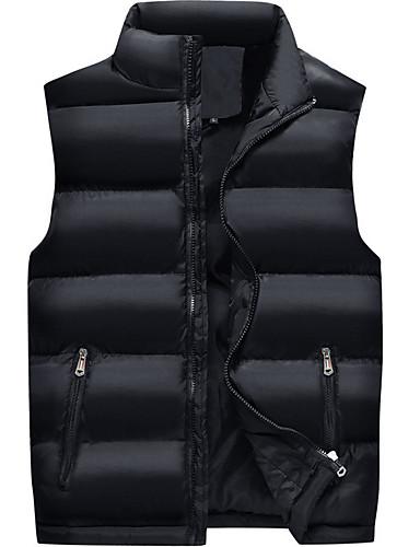 voordelige Heren donsjassen & parka's-Heren Dagelijks Standaard Effen Normaal Vest, Polyester Mouwloos Coltrui blauw / Zwart XXXL / XXXXL / XXXXXL