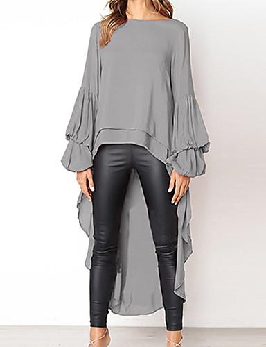 billige Dametopper-Tynn T-skjorte Dame - Ensfarget Grå XL