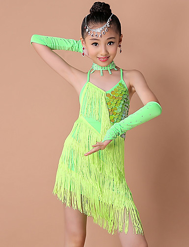 bebfd464a Latin Dance / Kids' Dancewear Outfits Girls' Training / Performance Nylon /  Sequined Criss Cross / Tassel / Paillette Sleeveless Dress / Gloves / Shorts