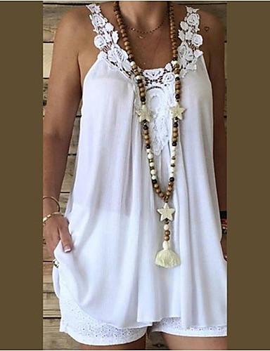ราคาถูก เสื้อผู้หญิง-สำหรับผู้หญิง เสื้อกล้าม สไตล์ชายหาด ฮอลิเดย์ / ไปเที่ยว - ลูกไม้ ลูกไม้ / ผ้าชีฟอง สาย สีพื้น ขาว