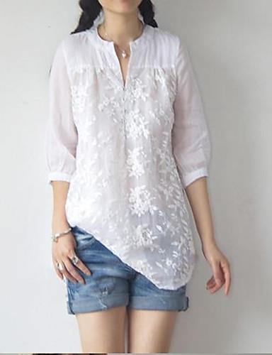 abordables Camisas y Camisetas para Mujer-Mujer Jacquard Camisa Tribal Blanco L
