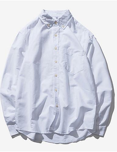 Pánské - Jednobarevné Košile Bavlna