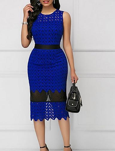 hesapli Kadın Elbiseleri-Kadın's Zarif A Şekilli Elbise - Solid, Şalter Diz-boyu