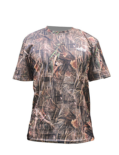 cheap Outdoor Clothing-Men's Camo Hiking Tee shirt Short Sleeve Outdoor Fast Dry Breathability Wearable Stretchy Tee / T-shirt Summer Terylene Brown Brown+Gray Hunting Camping / Hiking / Caving Back Country