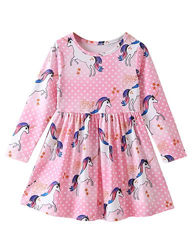 子供 女の子 ベーシック 日常 フラワー 長袖 膝丈 コットン / ポリエステル ドレス ピンク