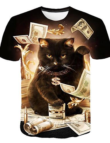 cheap Men's Tees & Tank Tops-Men's Daily Club Basic / Street chic T-shirt - Animal Cat, Print Round Neck Black XXXL / Short Sleeve