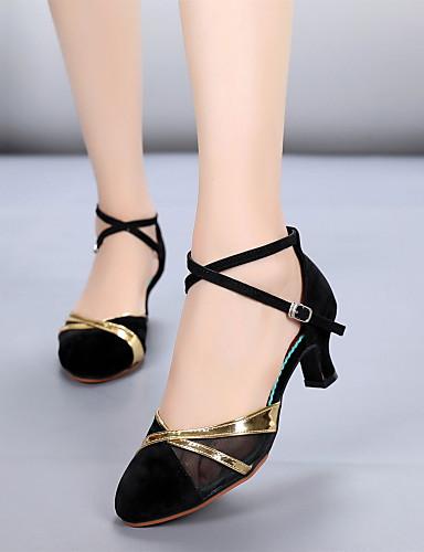 7299fba0d0729 نسائي أحذية عصرية فرو ظبي كعب ربط كعب كوبي مخصص أحذية الرقص أسود وذهبي