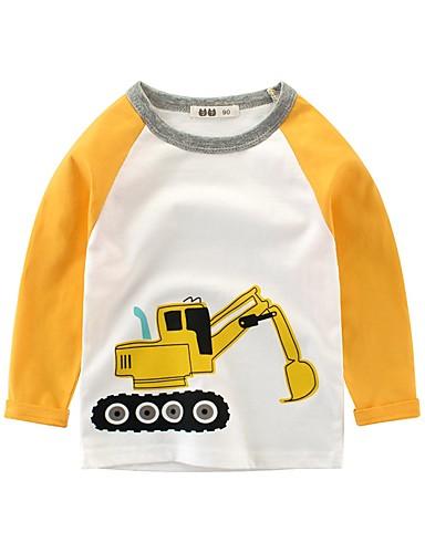 Barn Gutt Grunnleggende Trykt mønster Trykt mønster Langermet Bomull Bluse Hvit