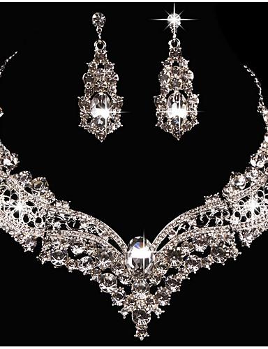 billige Trendy smykker-Dame Krystall Halskjede / Juvelsett Legering