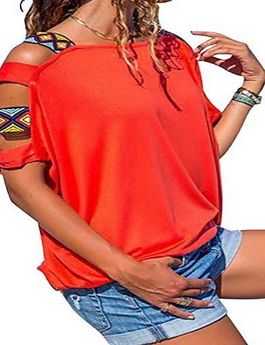 47b779ebfe94 Γυναικεία T-shirt Μονόχρωμο Με κοψίματα Μαύρο L
