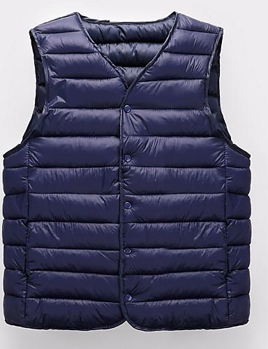 voordelige Heren donsjassen & parka's-Heren Dagelijks Standaard Effen Normaal Vest, Polyester Mouwloos Winter Coltrui Marineblauw / Grijs / Leger Groen XXL / XXXL / XXXXL