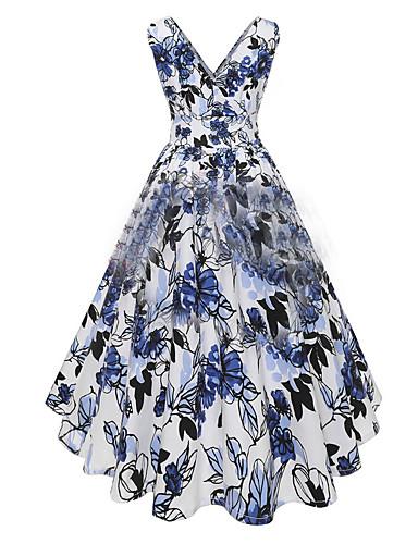 770440a89b6 Women s Party   Evening Vintage Basic Swing Skater Dress - Floral Print V  Neck Pink Light Blue L XL XXL