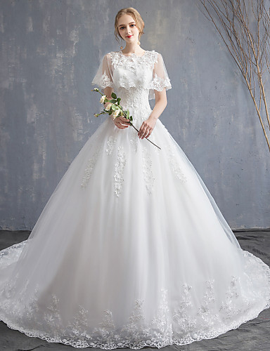 cheap Wedding Dresses-Ball Gown Jewel Neck Chapel Train Lace / Tulle / Lace Over Satin Made-To-Measure Wedding Dresses with Appliques / Lace by LAN TING Express